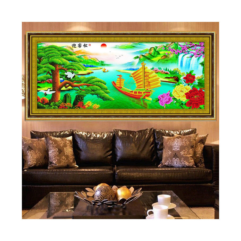 Printing 5D Round Diamond Living Room Diamond Paste Cross Stitch The Pine Greeting Guests Wealthy and Happy - Mega Save Wholesale & Retail