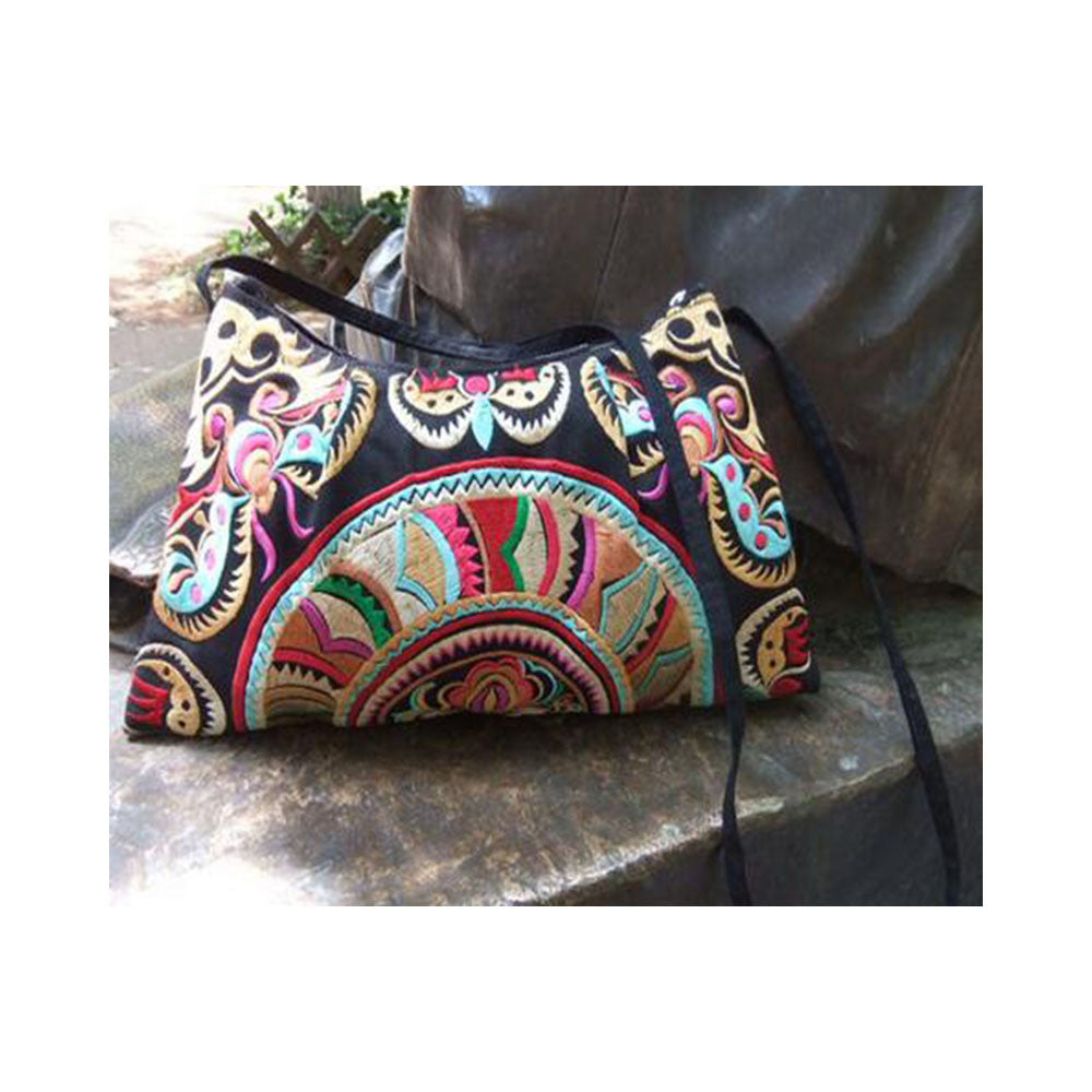 Original Yunnan Featured National Style Embroidery Bag Zipper Cotton Single-shoulder Bag Handbag Messenger Bag     1 - Mega Save Wholesale & Retail - 8