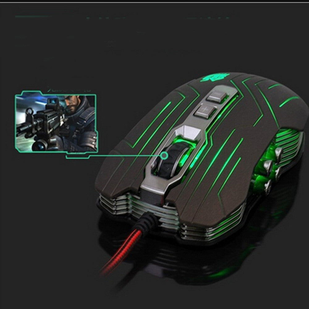 9D 2400DPI 9 Buttons Optical Usb Gaming Multimedia Mouse Green - Mega Save Wholesale & Retail - 5