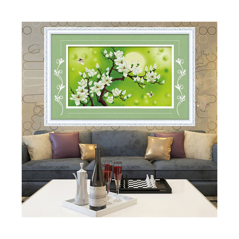 3D Cross Stitch Moon Magnolia Denudata Precise Printing Living Room Bedroom Diamond Painting Landscape Series - Mega Save Wholesale & Retail