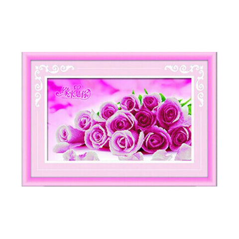 3D Diamond Painting Romantic Love Pink Rose Square Diamond Full-jewelled Living Room Bedroom Diamond Paste Diamond Stitch Cross Stitch - Mega Save Wholesale & Retail