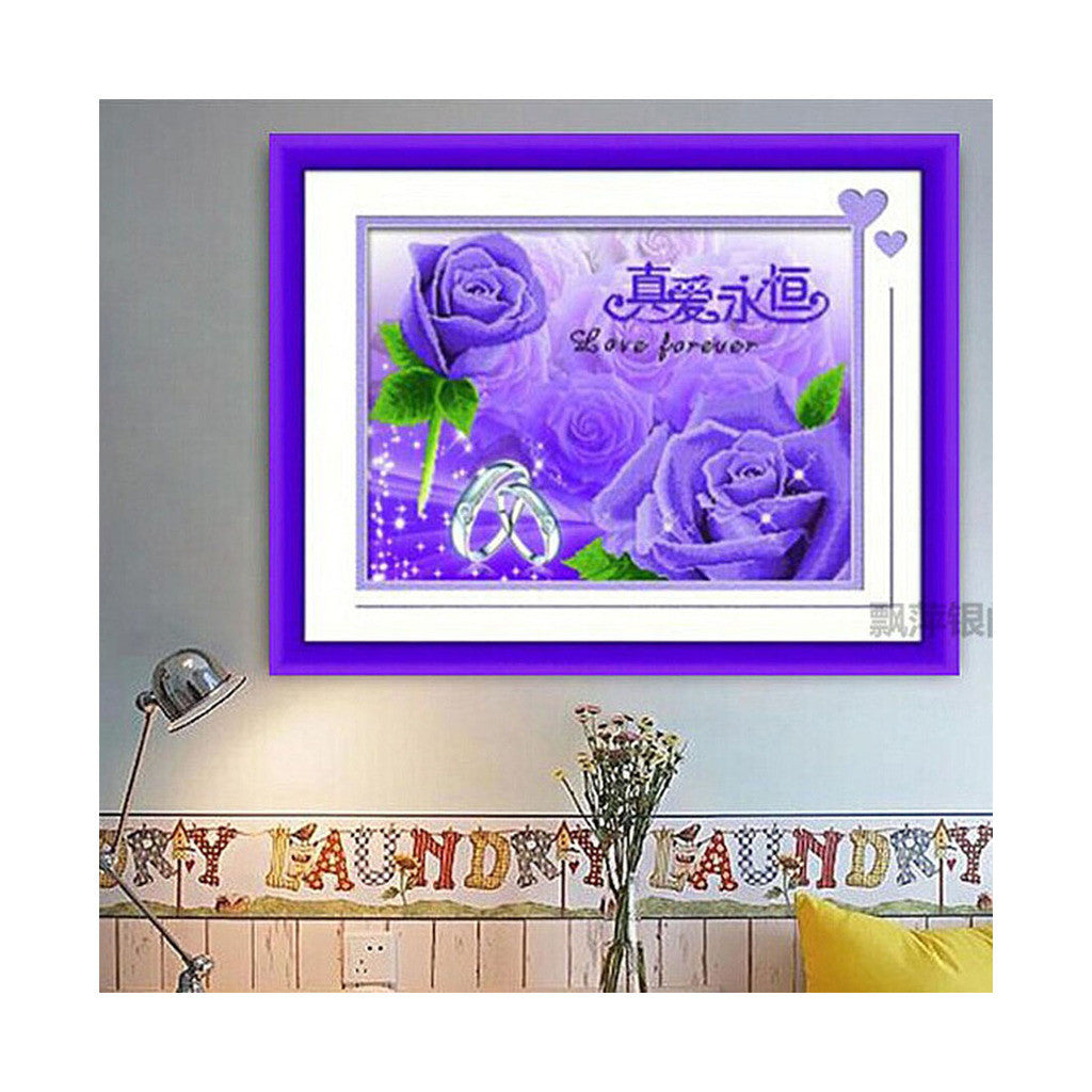 5D Diamond Painting Cross Stitch Diamond Paste Diamond Stitch Rose Forever True Love Full-jewelled Living Room - Mega Save Wholesale & Retail