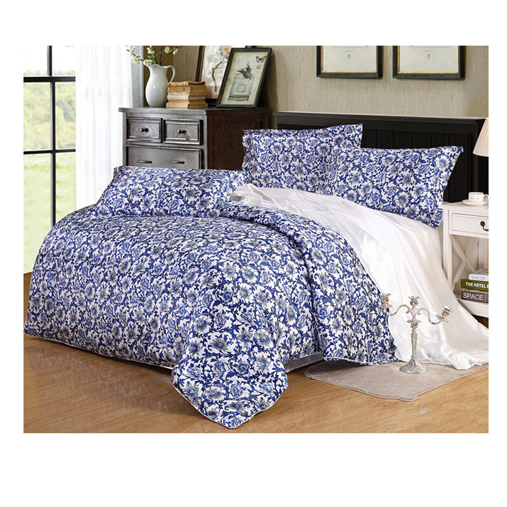 Silk King Queen Double Size Silk Duvet Quilt Cover Sets Bedding Cover Set  08 - Mega Save Wholesale & Retail