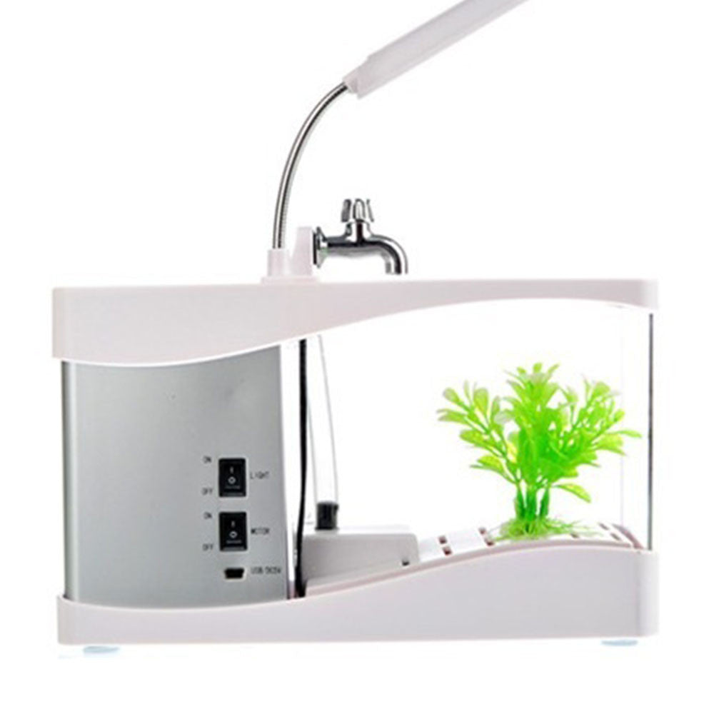 Creative multi-function USB mini aquarium fish tank LED lamp Pen small goldfish bowl White - Mega Save Wholesale & Retail - 1