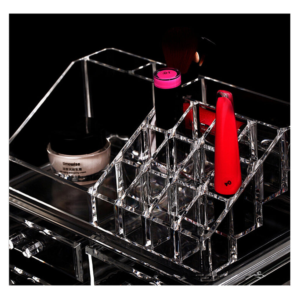 Makeup Cosmetics Jewelry Organizer Clear Acrylic 9 Drawers Lipstick Display Box Storage - Mega Save Wholesale & Retail - 2