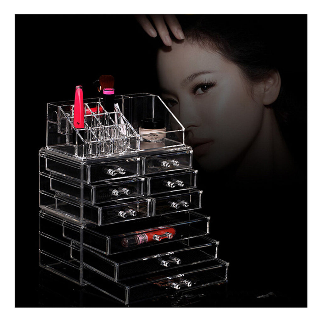 Makeup Cosmetics Jewelry Organizer Clear Acrylic 9 Drawers Lipstick Display Box Storage - Mega Save Wholesale & Retail - 3