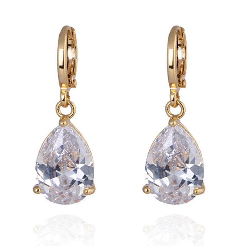 Water-drop Zircon Earrings    A white - Mega Save Wholesale & Retail