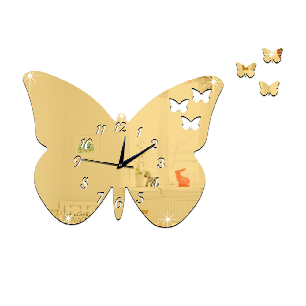 DIY Creative Decoration Butterfly Princess Mirror Quartz Wall Clock   B golden - Mega Save Wholesale & Retail