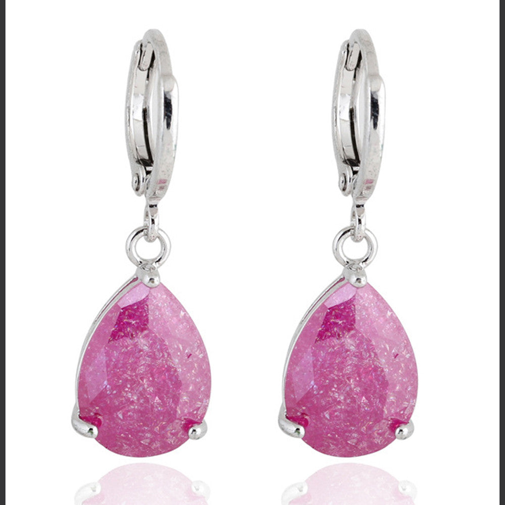 Water-drop Zircon Earrings    B pink - Mega Save Wholesale & Retail