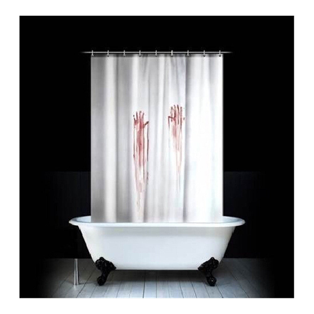 Black Tree White Fabric Bathroom Shower Curtain Polyester with 12 Hooks - Mega Save Wholesale & Retail - 3