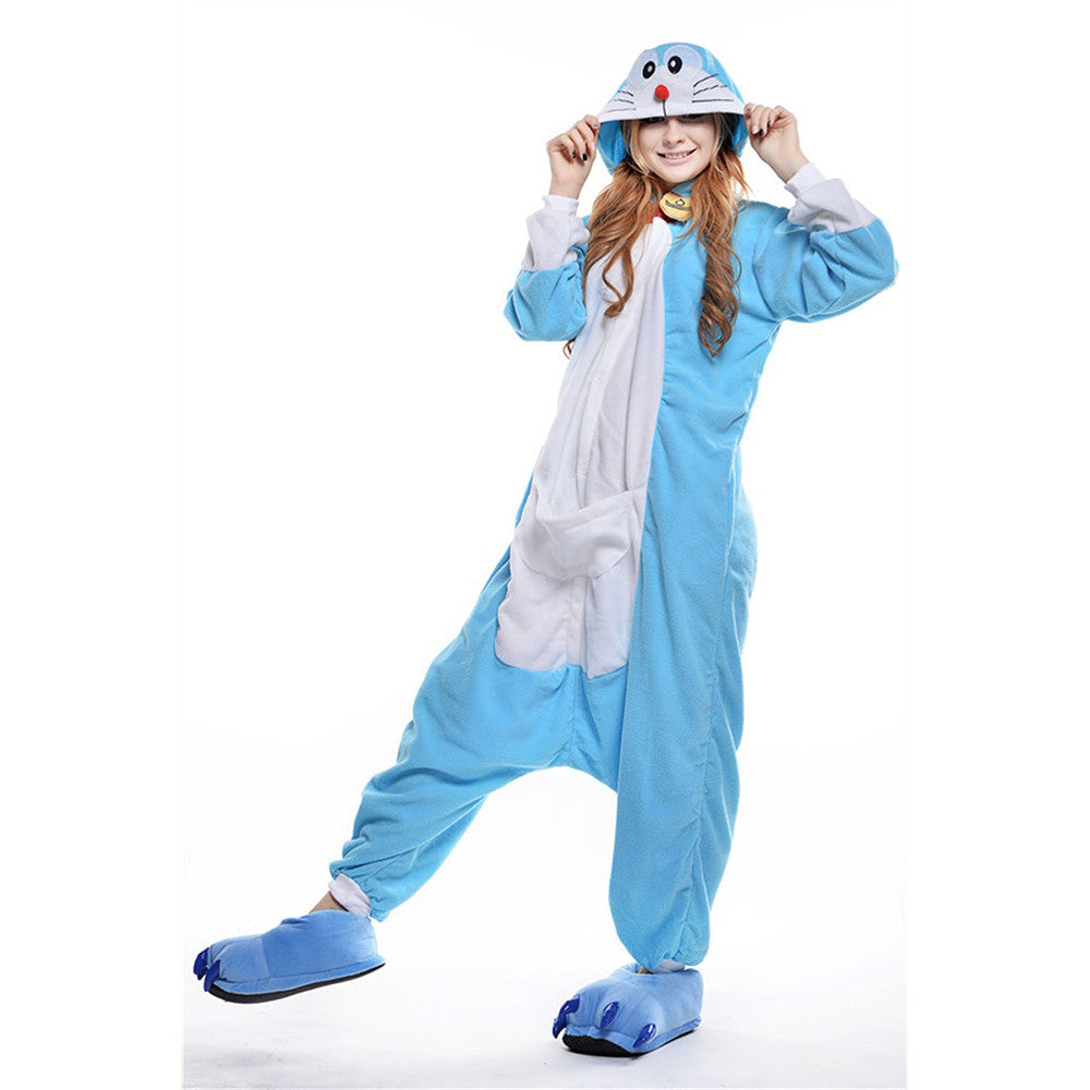 Unisex Adult Pajamas  Cosplay Costume Animal Onesie Sleepwear Suit   Doraemon - Mega Save Wholesale & Retail