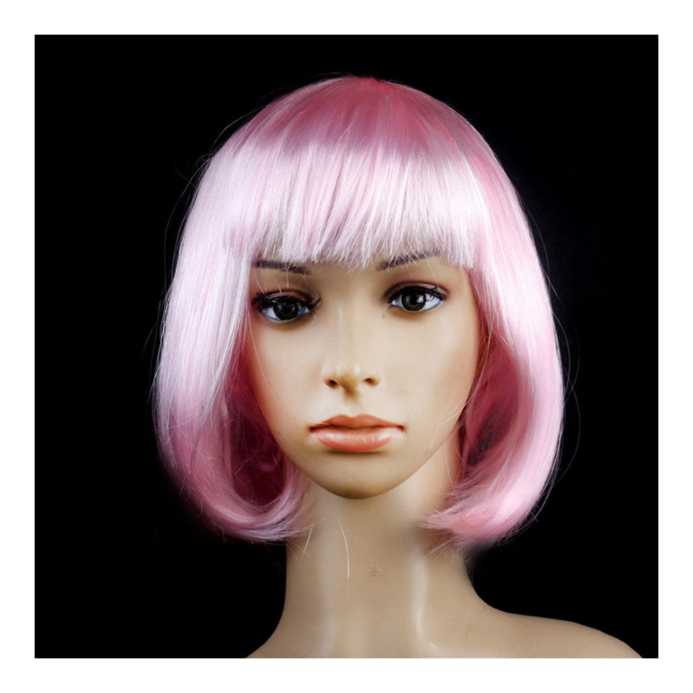 Women's Sexy Short Bob Cut Fancy Dress Wigs Play Costume Ladies Full Wig Party  Light pink - Mega Save Wholesale & Retail
