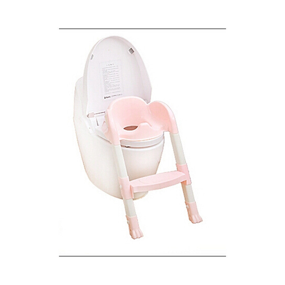 Foldable Kids Children Babies Toddlers Toilet Potty Trainer Seat With Ladder Kit   pink - Mega Save Wholesale & Retail - 1