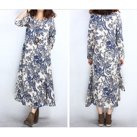 hotsale vintage blue and white porcelain printed dress long casual dress M - Mega Save Wholesale & Retail - 1