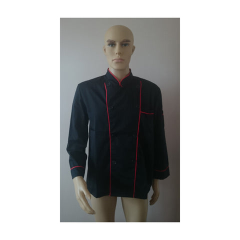 Long Sleeve Classic Kitchen Cook Chef Waiter Waitress Coat Uniform Jacket Black - Mega Save Wholesale & Retail - 1