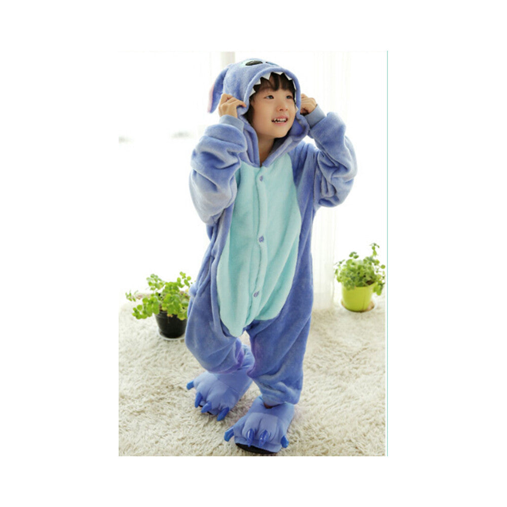 Kids Cute Cartoon Sleepwear Pajamas Cosplay Costume Animal Onesie Suit Fancy Dress    Blue stitch - Mega Save Wholesale & Retail