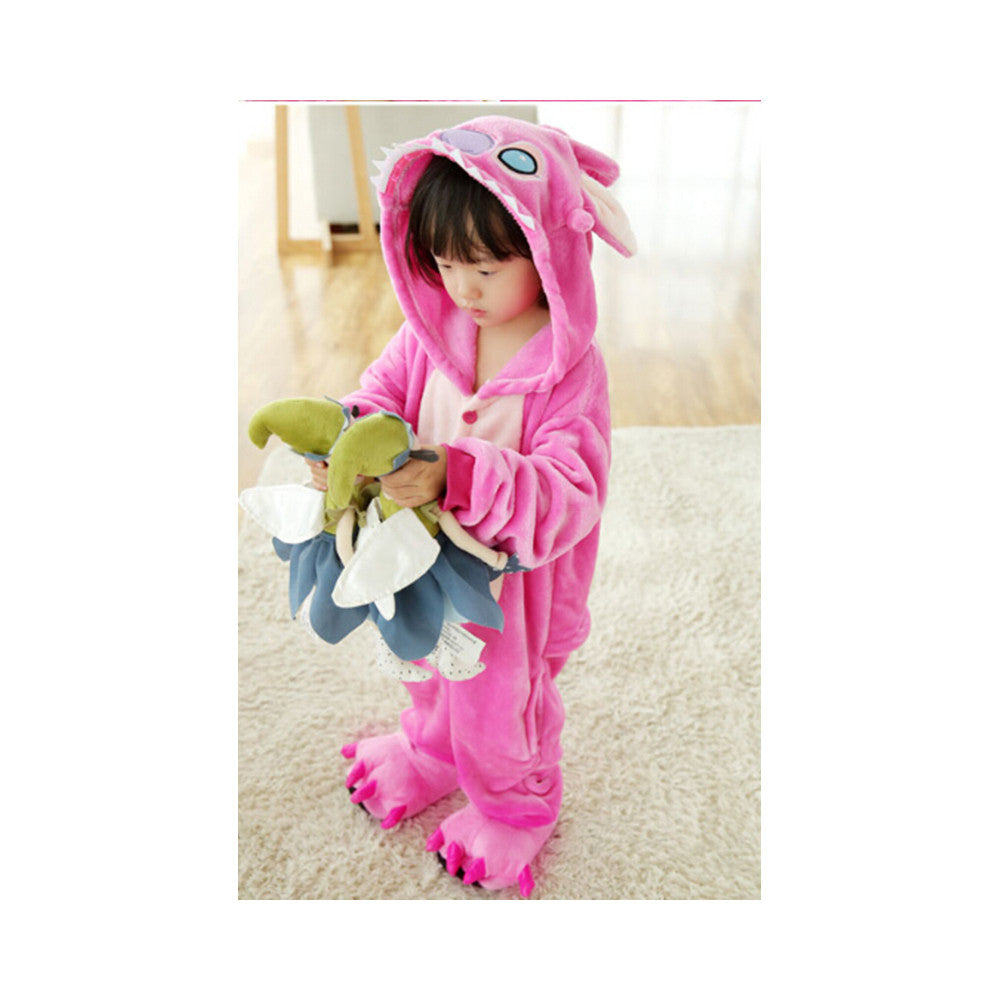 Kids Cute Cartoon Sleepwear Pajamas Cosplay Costume Animal Onesie Suit Fancy Dress   Pink stitch - Mega Save Wholesale & Retail