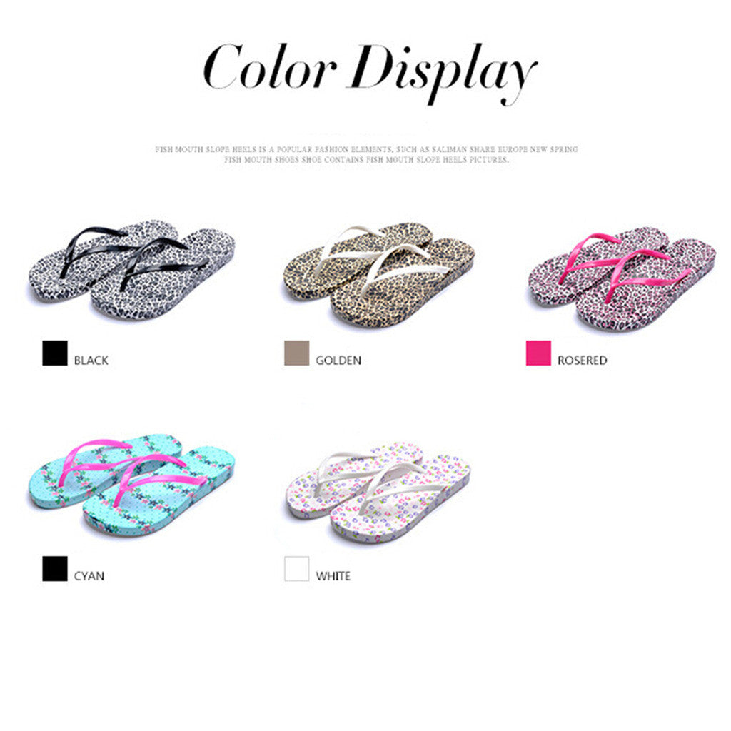 New Korean Version of Flat Flip Flop Womens Sandals Online in Casual Summer Style & Gold Leopard Print Design - Mega Save Wholesale & Retail - 2