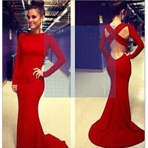 Sexy Women Backless Prom Gown Bodycon Ball Party Evening Formal Maxi Long Dress Red - Mega Save Wholesale & Retail
