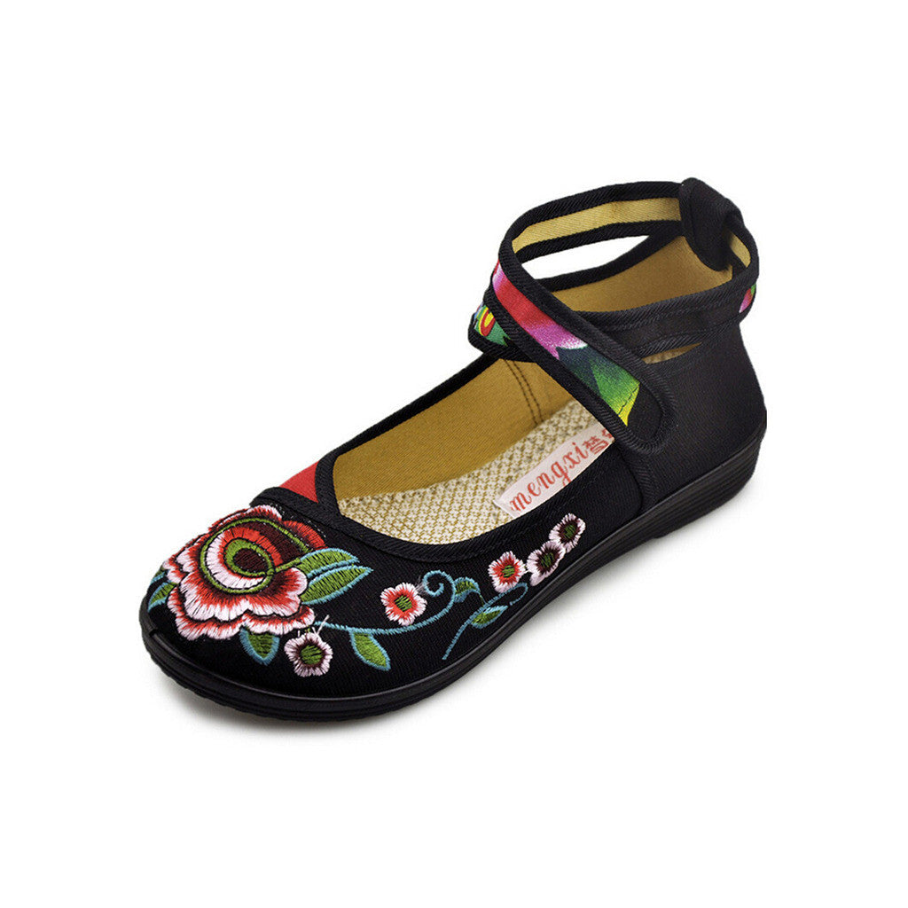 Vintage Embroidered Flat Ballet Ballerina Black Cotton Mary Jane Chinese Shoes for Women in Beautiful Floral Designs - Mega Save Wholesale & Retail - 4