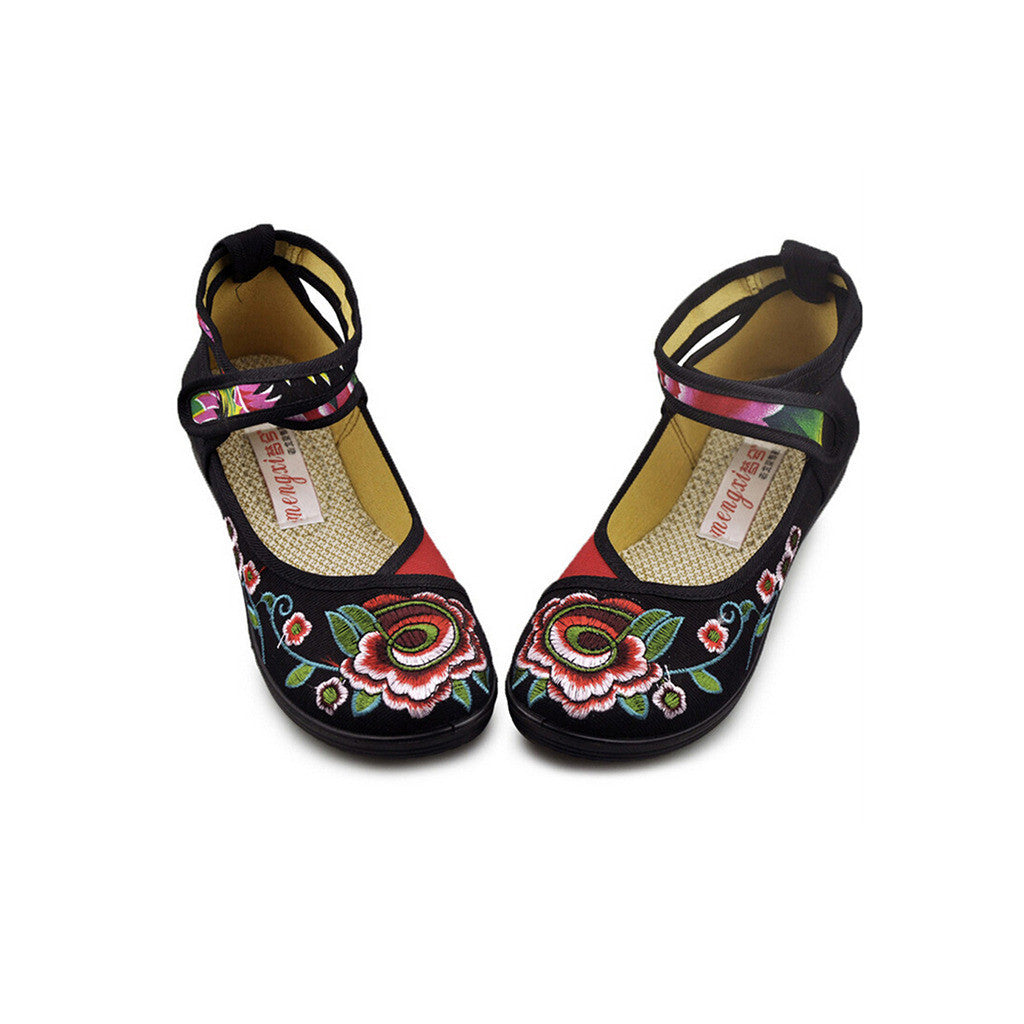 Vintage Embroidered Flat Ballet Ballerina Black Cotton Mary Jane Chinese Shoes for Women in Beautiful Floral Designs - Mega Save Wholesale & Retail - 1
