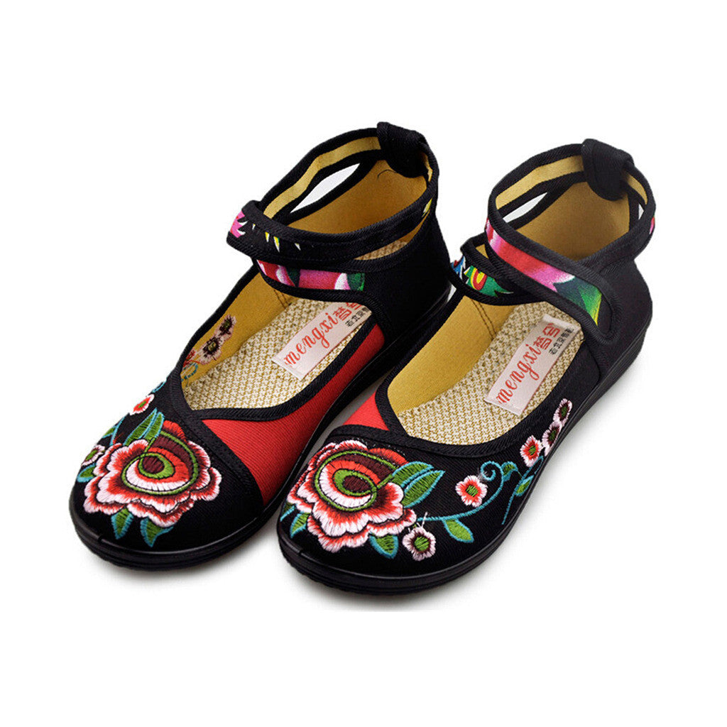 Vintage Embroidered Flat Ballet Ballerina Black Cotton Mary Jane Chinese Shoes for Women in Beautiful Floral Designs - Mega Save Wholesale & Retail - 3