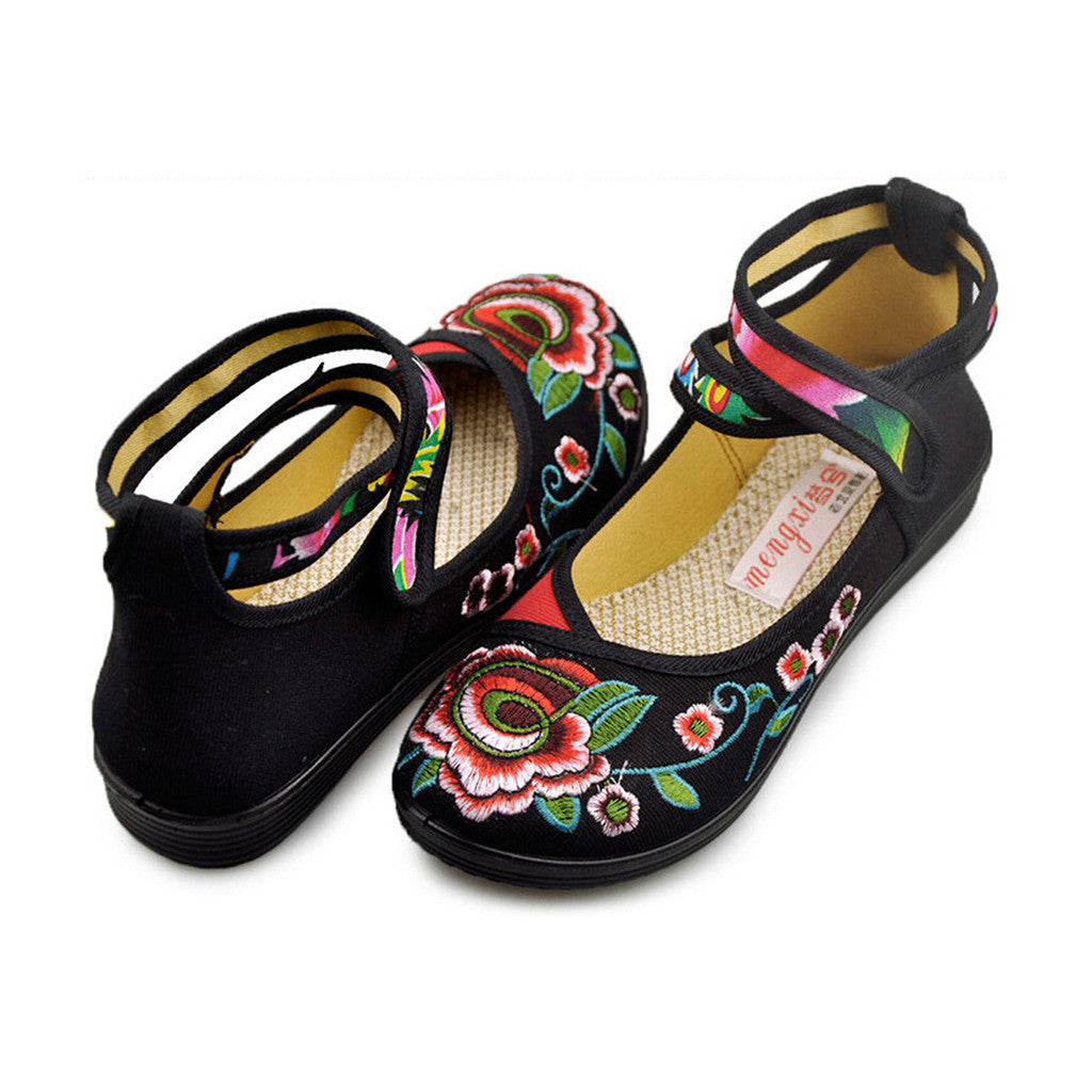 Vintage Embroidered Flat Ballet Ballerina Black Cotton Mary Jane Chinese Shoes for Women in Beautiful Floral Designs - Mega Save Wholesale & Retail - 2