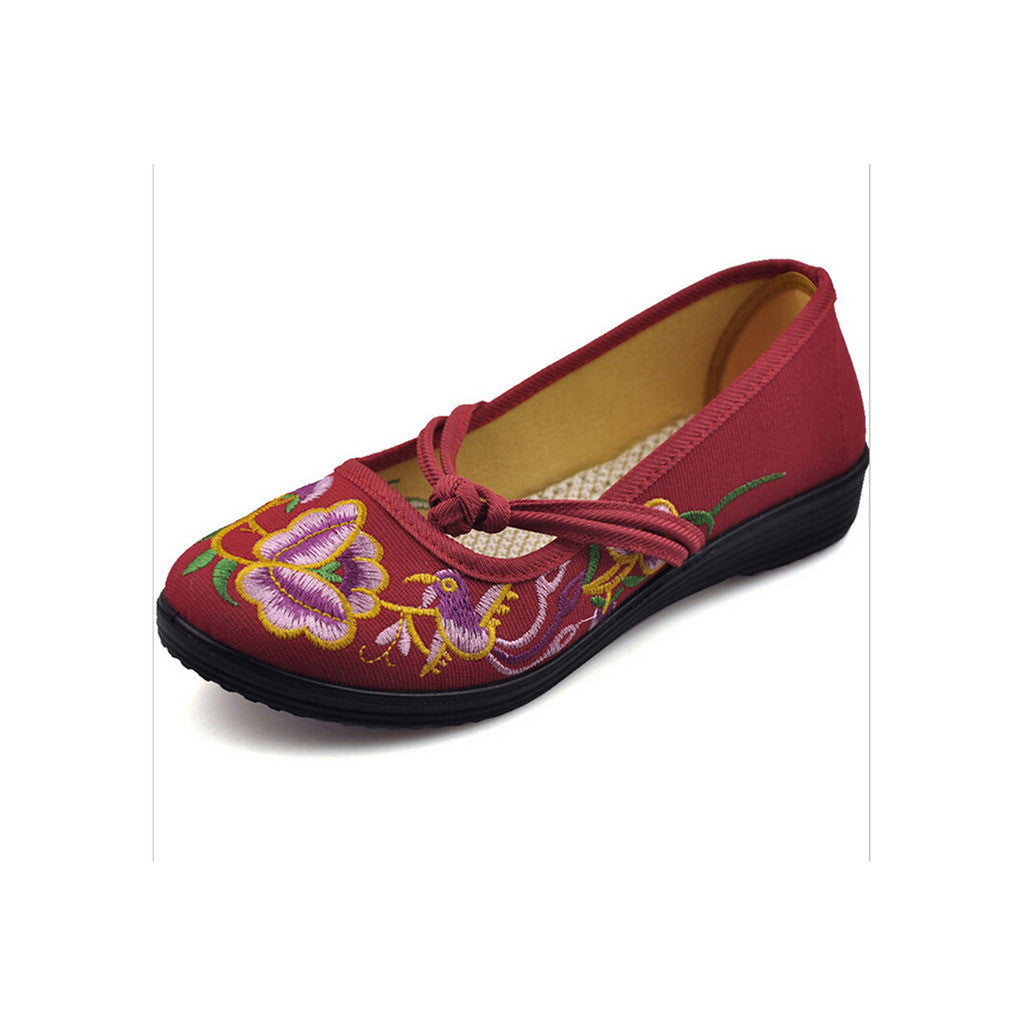 Vintage Chinese Embroidered Flat Ballet Ballerina Cotton Mary Jane Shoes for Women in Ventilated Red Floral Design - Mega Save Wholesale & Retail - 4