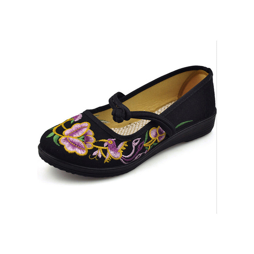 Vintage Chinese Embroidered Ballerina Mary Jane Flat Ballet Cotton Loafer for Women in Black Floral Design - Mega Save Wholesale & Retail - 3
