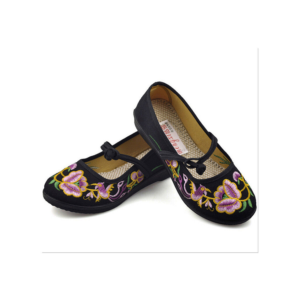 Vintage Chinese Embroidered Ballerina Mary Jane Flat Ballet Cotton Loafer for Women in Black Floral Design - Mega Save Wholesale & Retail - 4