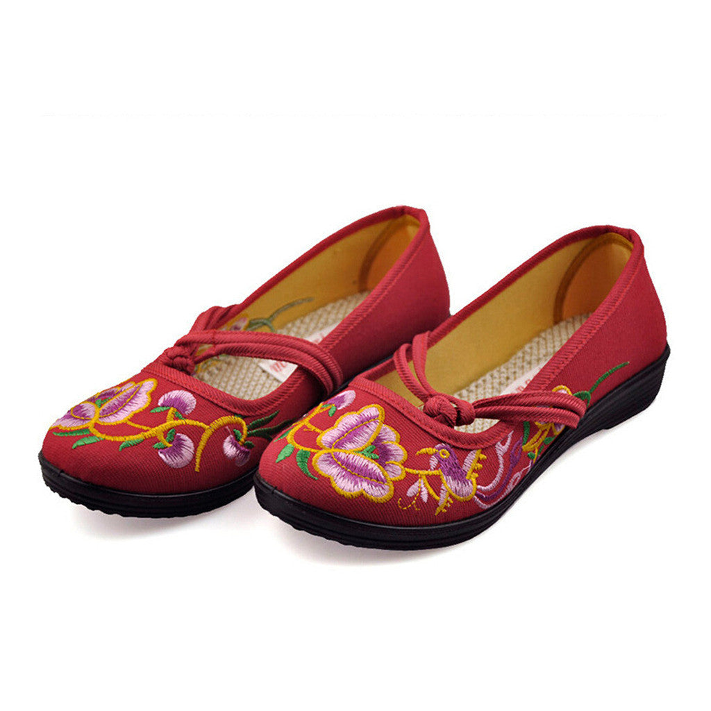 Vintage Chinese Embroidered Flat Ballet Ballerina Cotton Mary Jane Shoes for Women in Ventilated Red Floral Design - Mega Save Wholesale & Retail - 2