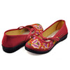 Vintage Chinese Embroidered Flat Ballet Ballerina Cotton Mary Jane Shoes for Women in Ventilated Red Floral Design - Mega Save Wholesale & Retail - 1