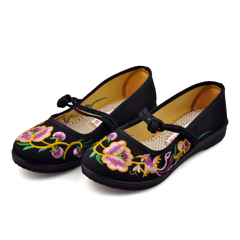 Vintage Chinese Embroidered Ballerina Mary Jane Flat Ballet Cotton Loafer for Women in Black Floral Design - Mega Save Wholesale & Retail - 2