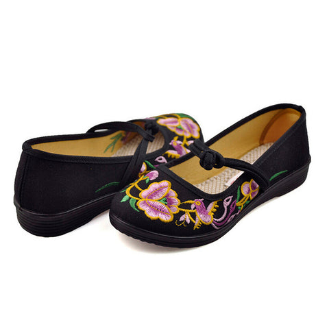 Vintage Chinese Embroidered Ballerina Mary Jane Flat Ballet Cotton Loafer for Women in Black Floral Design - Mega Save Wholesale & Retail - 1