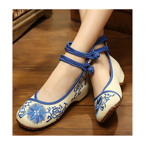 Vintage Flat Ballet Ballerina Cotton Chinese Embroidered Slippers & Shoes for Women in Blue Floral Design - Mega Save Wholesale & Retail - 1