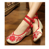 Vintage Chinese Embroidered Floral Shoes Women Ballerina Mary Jane Flat Ballet Cotton Loafer Red - Mega Save Wholesale & Retail - 1