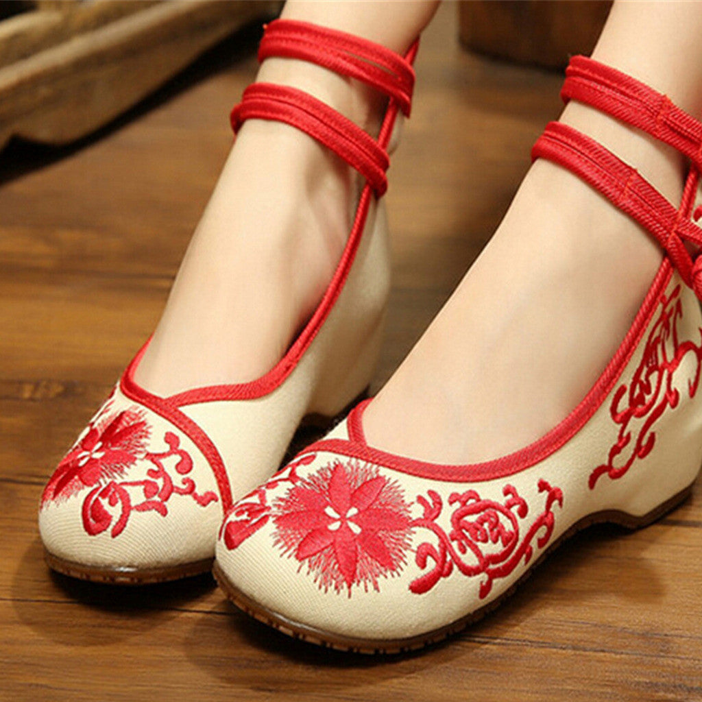 Vintage Chinese Embroidered Flat Ballet Ballerina Cotton Cheap Mary Jane Shoes for Women in Red Floral Design - Mega Save Wholesale & Retail - 3