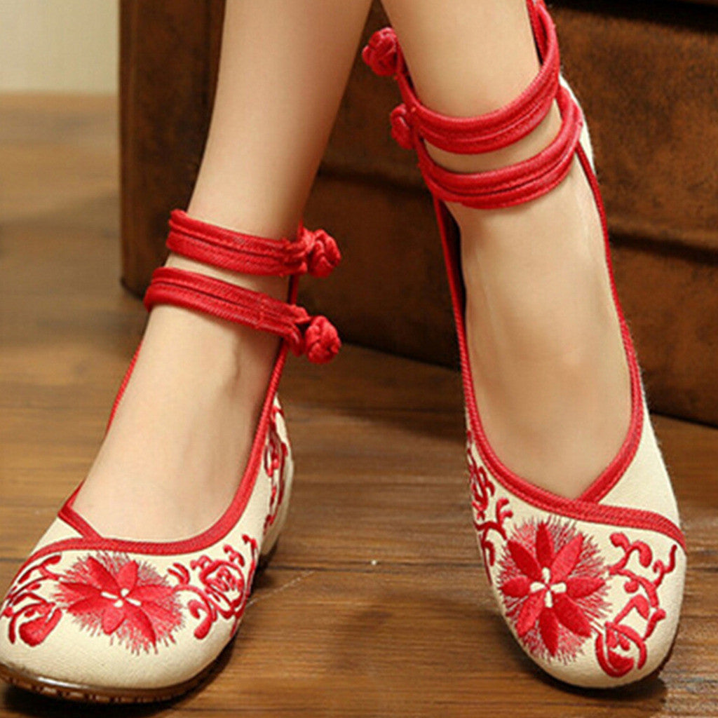 Vintage Chinese Embroidered Flat Ballet Ballerina Cotton Cheap Mary Jane Shoes for Women in Red Floral Design - Mega Save Wholesale & Retail - 2