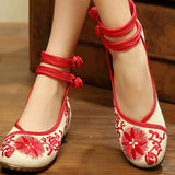 Vintage Chinese Embroidered Floral Shoes Women Ballerina Mary Jane Flat Ballet Cotton Loafer Red - Mega Save Wholesale & Retail - 2