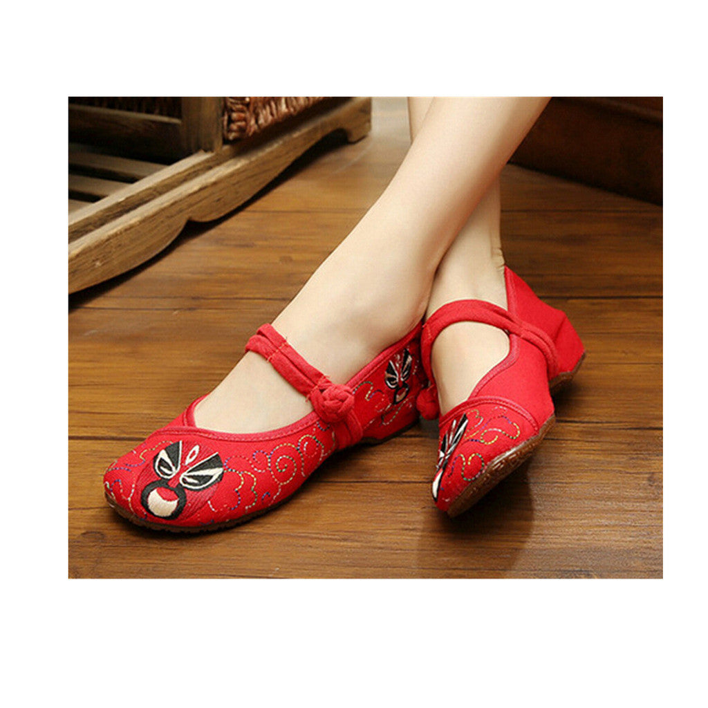 Vintage Chinese Embroidered Ballerina Mary Jane Flat Ballet Cotton Loafer Red Shoes for Women in Floral Design - Mega Save Wholesale & Retail - 1