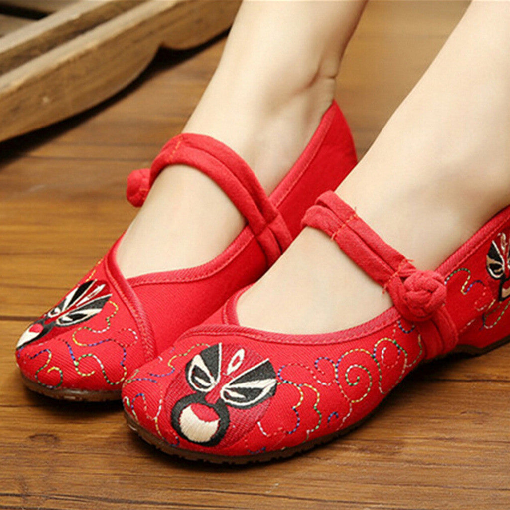 Vintage Chinese Embroidered Ballerina Mary Jane Flat Ballet Cotton Loafer Red Shoes for Women in Floral Design - Mega Save Wholesale & Retail - 3