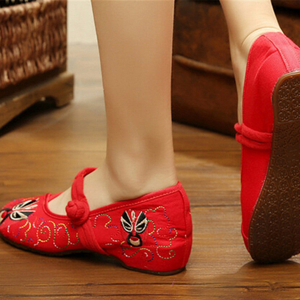 Vintage Chinese Embroidered Ballerina Mary Jane Flat Ballet Cotton Loafer Red Shoes for Women in Floral Design - Mega Save Wholesale & Retail - 2