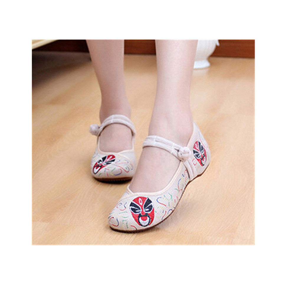 Vintage Embroidered Flat Ballet Ballerina Cotton Chinese Mary Jane Shoes for Women in Beige Ventilated Floral Design - Mega Save Wholesale & Retail
