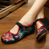 Vintage Chinese Embroidered Floral Shoes Women Ballerina Mary Jane Flat Ballet Cotton Loafer Black - Mega Save Wholesale & Retail - 2