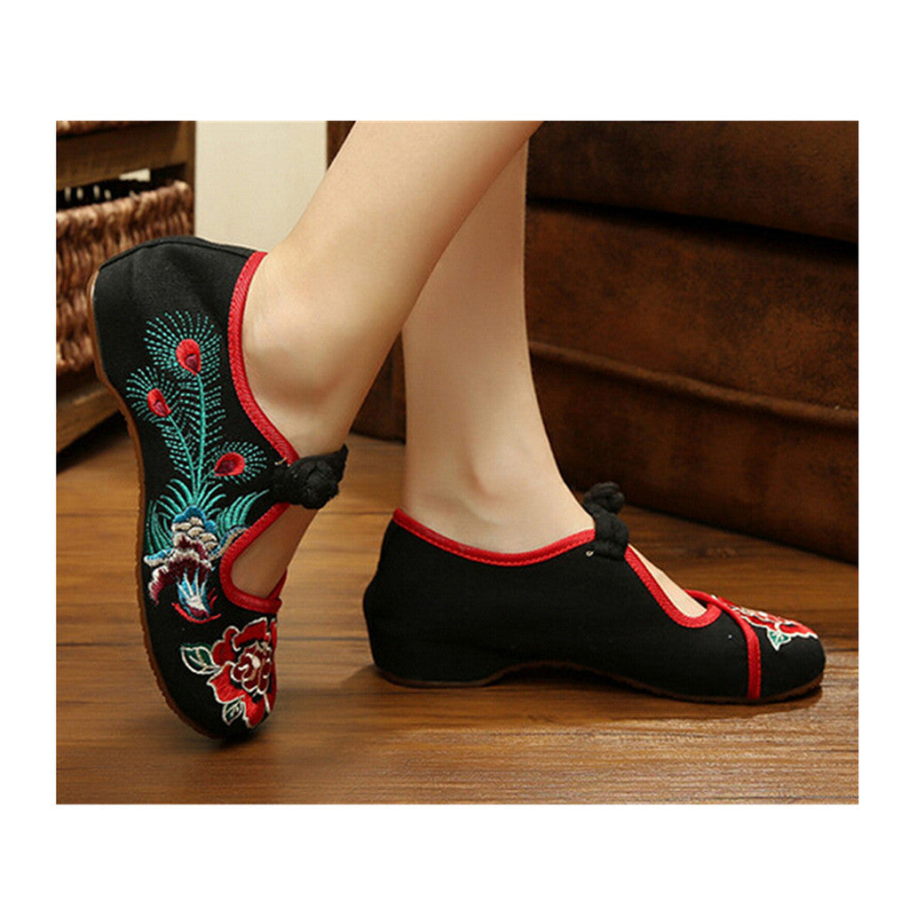 Vintage Chinese Embroidered Floral Shoes Women Ballerina Mary Jane Flat Ballet Cotton Loafer Black - Mega Save Wholesale & Retail - 1