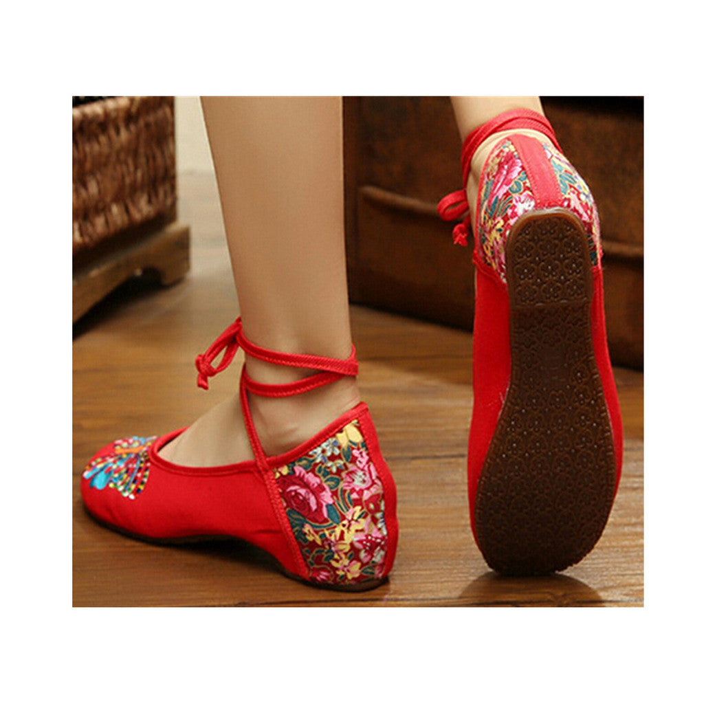 Vintage Chinese Embroidered Ballet Ballerina Cotton Mary Jane Cheap Flat Shoes for Women in Red Floral Design - Mega Save Wholesale & Retail - 1