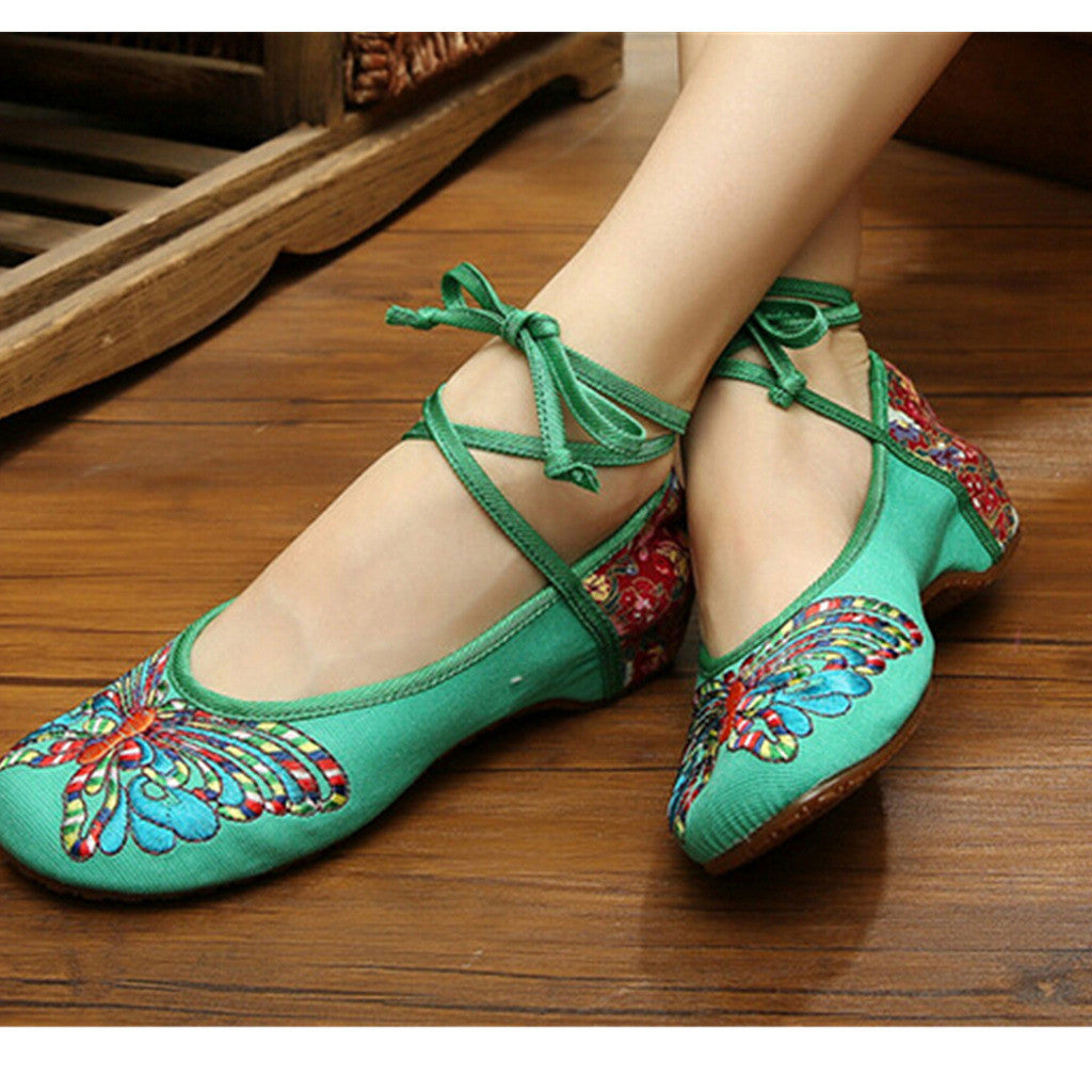 Vintage Chinese Embroidered Floral Shoes Women Ballerina Mary Jane Flat Ballet Cotton Loafer Green - Mega Save Wholesale & Retail - 3