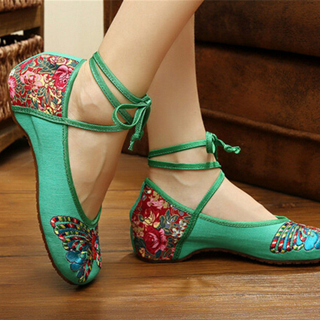 Vintage Chinese Embroidered Floral Shoes Women Ballerina Mary Jane Flat Ballet Cotton Loafer Green - Mega Save Wholesale & Retail - 2