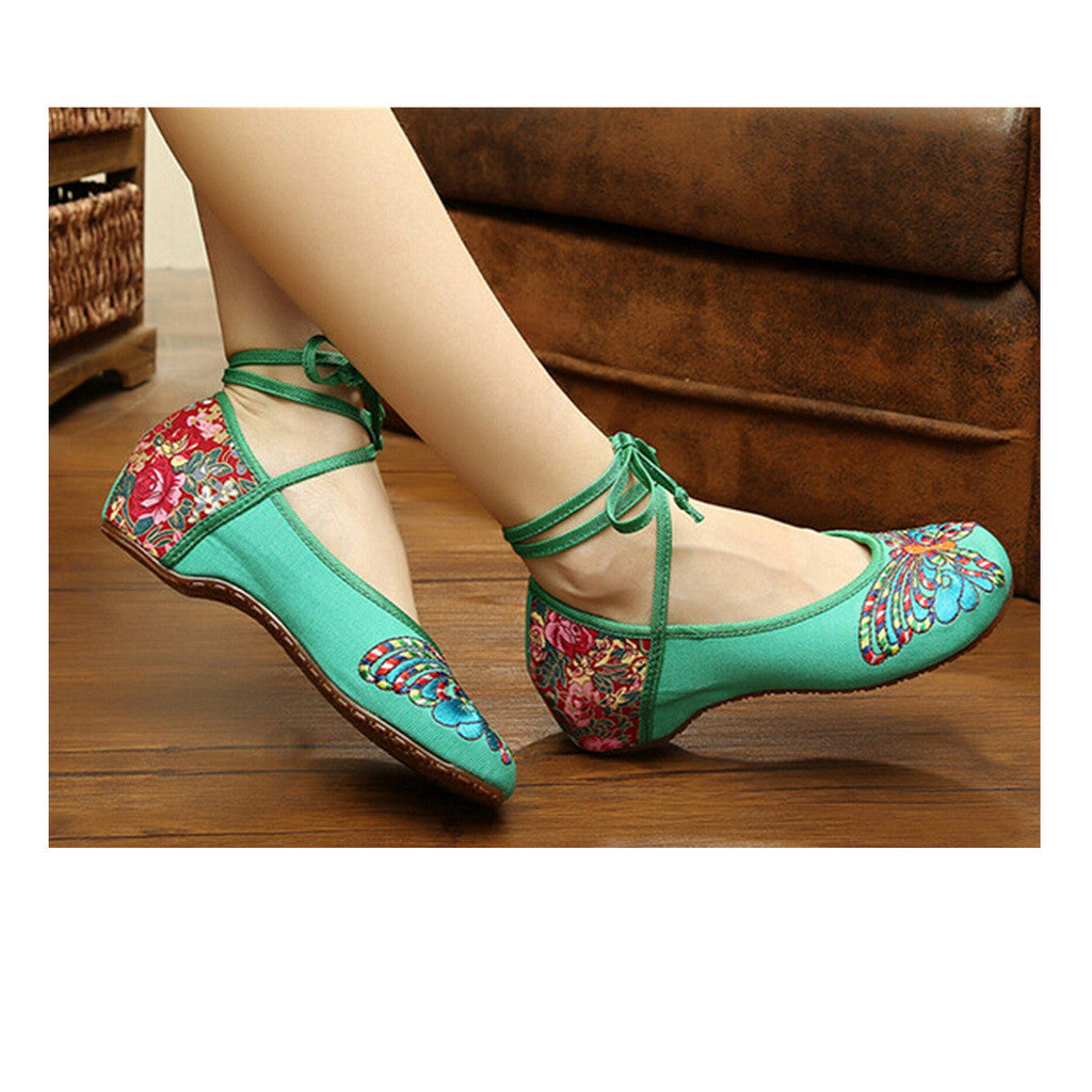 Vintage Chinese Embroidered Floral Shoes Women Ballerina Mary Jane Flat Ballet Cotton Loafer Green - Mega Save Wholesale & Retail - 1