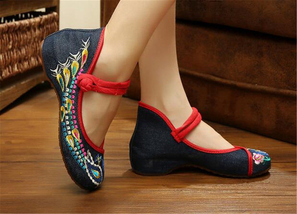 Chinese Embroidered Floral Shoes Women Ballerina Mary Jane Flat Ballet Cotton Loafer Blue - Mega Save Wholesale & Retail - 5